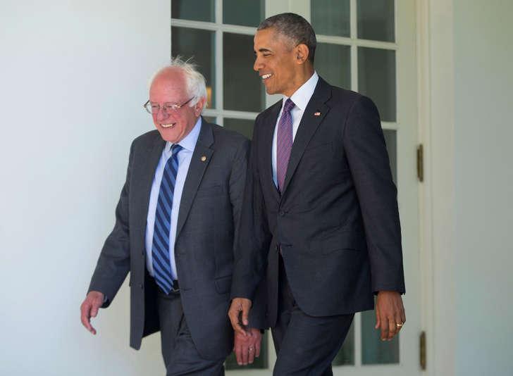 U.S. President Barack Obama walks with Democratic presidential candidate Sen. Bernie Sanders, I-Vt., down the Colonnade of the White House in Washington, Thursday, June 9, 2016.