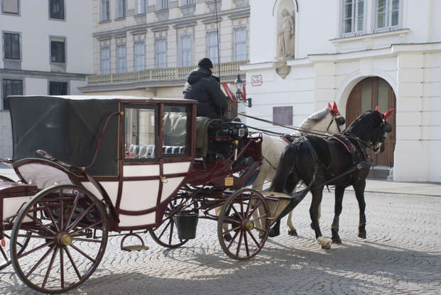 Slide 2 of 21: Vienna, Austria - March 17, 2013: Hackney carriages called 'Fiaker' carrying some guests through an empty alley in Vienna's First district, in March 2013