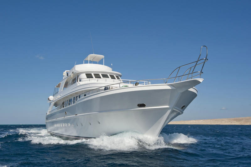 A luxury motor yacht at sea.