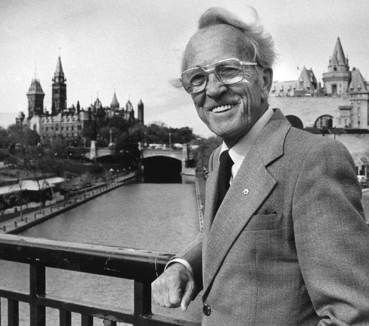 Former NDP leader Tommy Douglas poses in Ottawa in this Oct. 19, 1983 file photo.