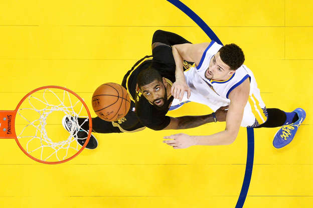 c387dead664 Slide 2 of 120  Kyrie Irving  2 of the Cleveland Cavaliers defends Klay  Thompson