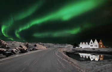 ICELAND - FEBRUARY 2009: EXCLUSIVE. Straumur Aurora ? Hafnarfj?r ur, Iceland, February 2009. Chronological pictures show the secret cycle of the stunning Northern Lights - which are visibly building up year-on-year to a spectacular climax in 2012. Icelandic photographer Orvar Thorgiersson, 35, a software engineer from Reyjavik, is on a mission to document the growing annual intensity of the phenomenon, which can be seen getting brighter and brighter from 2007 to this year. Part of a cosmic rhythm, scientists expect the lights in 2012 to produce a spectacular fireworks display - a crescendo of breathtaking activity high above the Earth. The event will be causeed by the Solar Maximum - a period when the sun's magnetic field on the solar equator rotates at a slightly faster pace than at the solar poles. The solar cycle takes an average of around 11 years to go from one solar maximum to the next - varying between 9 to 14 years for any given solar cycle.