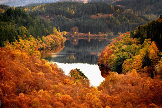 Slide 1 de 30: ABERFOYLE, SCOTLAND - OCTOBER 25: A general view of Lochan Reoidhte on October 25, 2016 in Aberfoyle,Scotland. After an unusually warm October and a mild autumn so far, trees in many parts of Scotland are starting to display their full autumn colours.