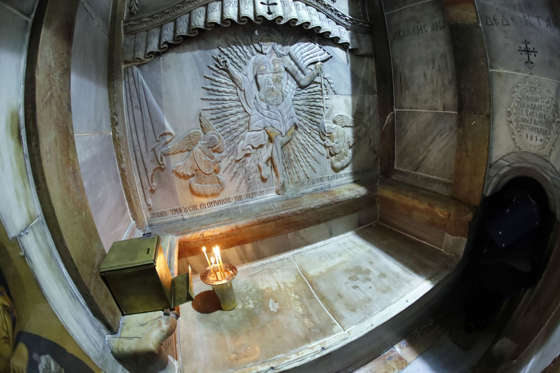 A picture taken on November 4, 2016 at the Church of the Holy Sepulchre in Jerusalems Old City shows the Tomb of Jesus (where his body is believed to have been laid) inside the Edicule. The experts from the National Technical University of Athens for cultural heritage preservation removed the marble slab stone that covered the original tomb since the last restoration of the edicule on 1810 by Greek architect Nikolaos Komnenos. The Church of the Holy Sepulchre in Jerusalems Old City is traditionally believed to be the site of Jesuss burial and attracts every year millions of pilgrims from all over the world. / AFP / THOMAS COEX (Photo credit should read THOMAS COEX/AFP/Getty Images)