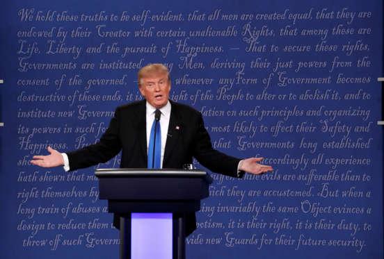 Republican U.S. presidential nominee Donald Trump speaks during the first debate with Democratic U.S. presidential nominee Hillary Clinton at Hofstra University in Hempstead, New York, U.S., September 26, 2016. REUTERS/Lucas Jackson