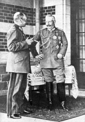 Slide 2 of 10: Kaiser Wilhelm II of Germany and Frederick Augustus III of Saxony, June 1918. The last Emperor of Germany and King of Saxony, both forced to abdicate after Germany's defeat in World War I.