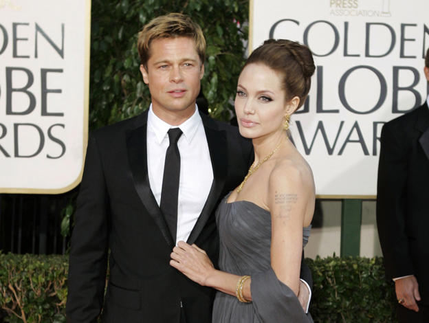 FILE - In this Jan. 15, 2007 file photo, Brad Pitt, and actress Angelina Jolie arrive for the 64th Annual Golden Globe Awards in Beverly Hills, Calif.