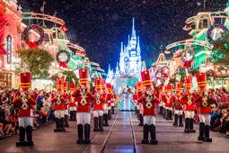 "Toy soldiers parade down Main Street, U.S.A., at Magic Kingdom during ""Mickey's Once Upon a Christmastime Parade."" The festive processional is one of the happy highlights of Mickey's Very Merry Christmas Party, a night of holiday splendor with lively stage shows, a unique holiday parade, Holiday Wishes: Celebrate the Spirit of the Season nighttime fireworks, and snow flurries on Main Street, U.S.A. The special-ticket event takes place on select nights in November and December in Magic Kingdom at Walt Disney World Resort in Lake Buena Vista, Fla."