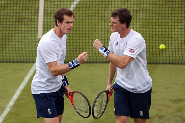 Slide 3 of 55: LONDON, ENGLAND - JULY 28:  Andy Murray and Jamie Murray of Great Britain play against Alexander Peya and Jurgen Melzer of Austria during their Men's Doubles Tennis match on Day 1 of the London 2012 Olympic Games at the All England Lawn Tennis and Croque