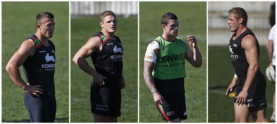Slide 52 of 55: A combination photo shows the English Burgess brothers (L-R) Sam, George, Luke and Thomas at a training session of rugby league club Sydney Rabbitohs in Sydney September 3, 2013. The four brothers all play for Australian rugby league club South Sydney Rabbitohs, which is co-owned by Oscar-winning actor Russell Crowe and seeking a first National Rugby League (NRL) title in 41 years over the next month. Picture taken September 3. To match Feature RUGBY-AUSTRALIA/RABBITOHS REUTERS/Daniel Munoz (AUSTRALIA - Tags: SPORT RUGBY)...