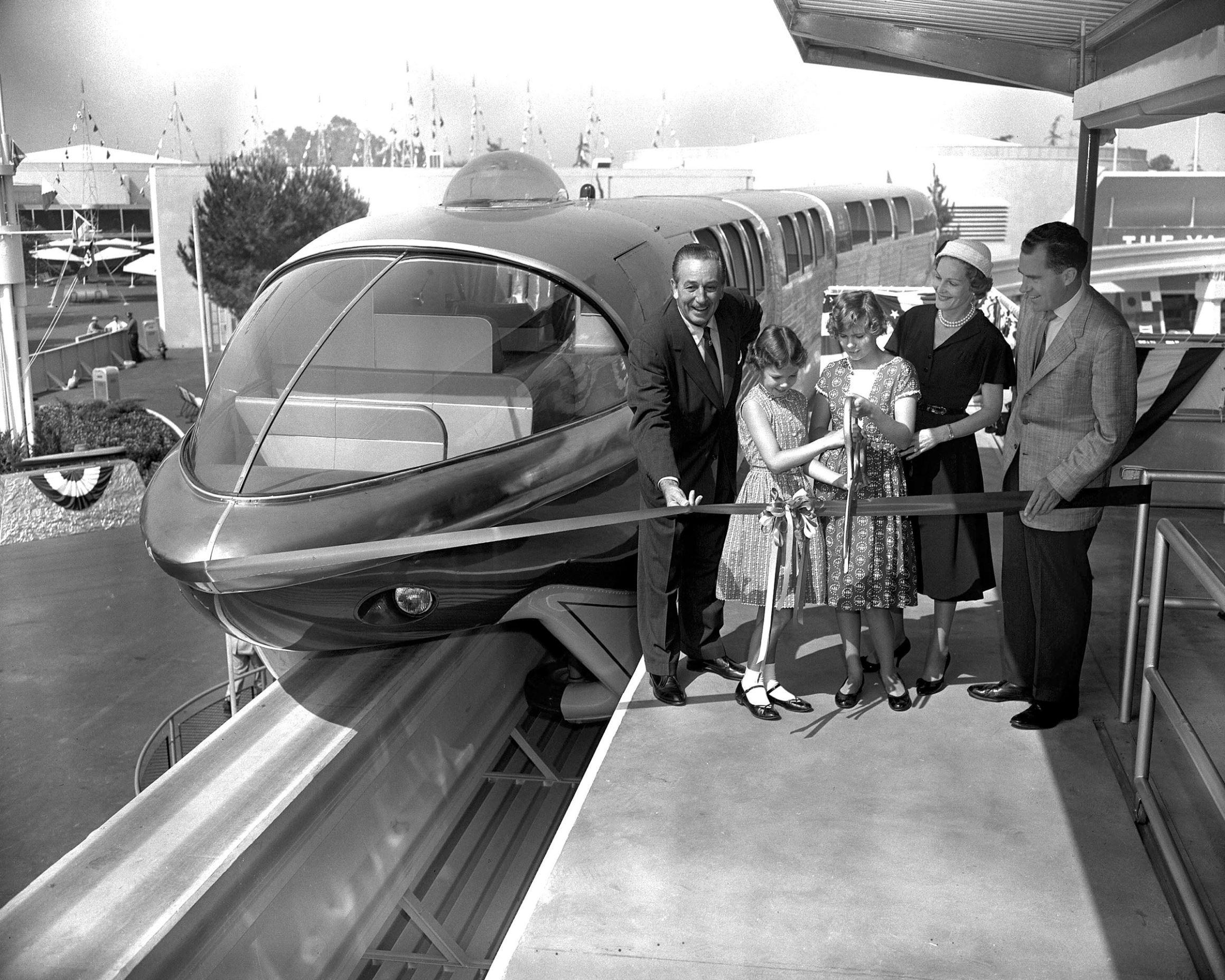 Slide 13 of 33: VARIOUS - 1950S Walt Disney assists Richard Nixon and family in dedicating the Monorail at Disneyland, Florida, America - 1959