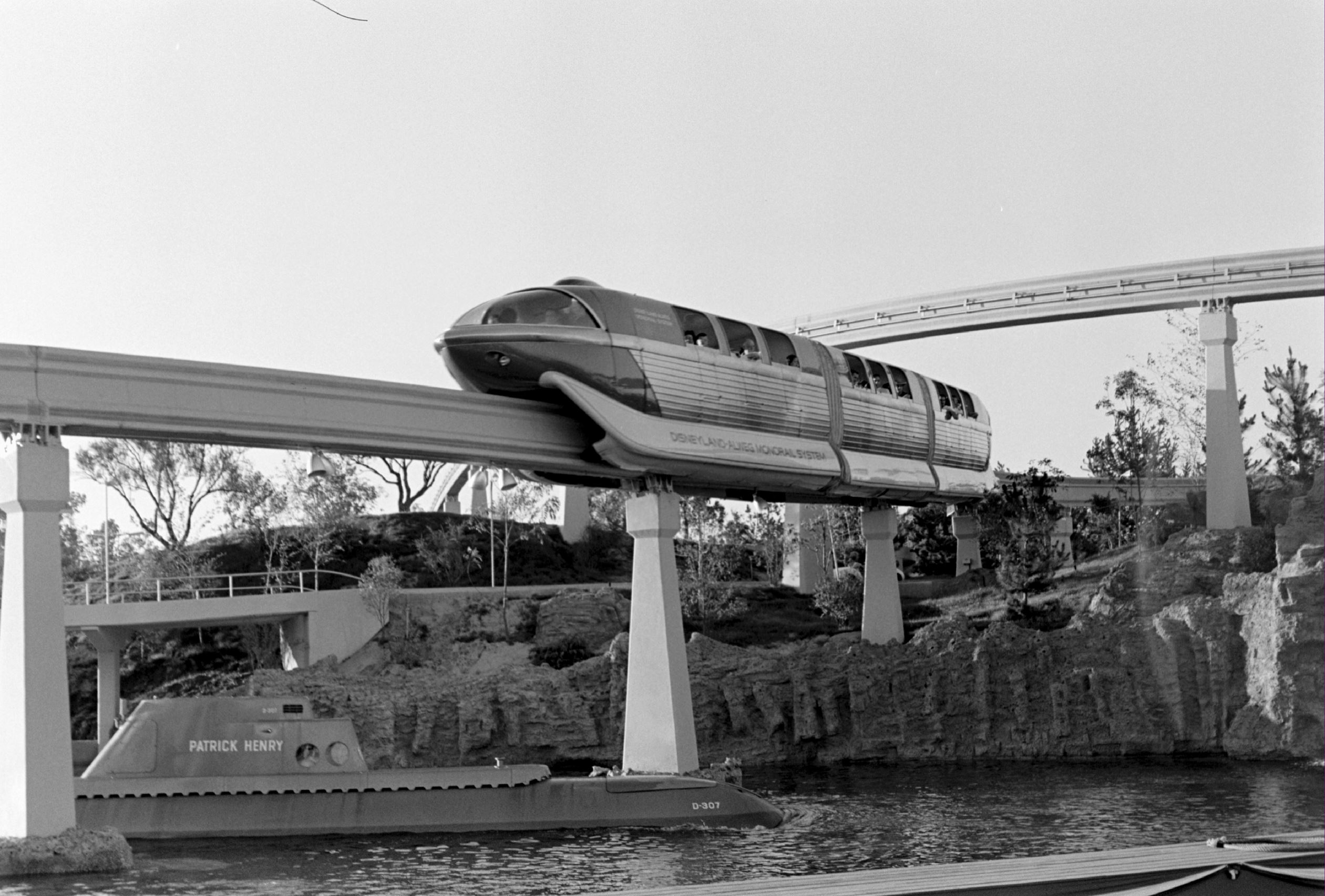 Slide 14 of 33: UNITED STATES - JULY 21:  Monorail At Disneyland - 1959. Disneyland-Alweg Monorail System.  (Photo by Bob D'Olivo/The Enthusiast Network/Getty Images)
