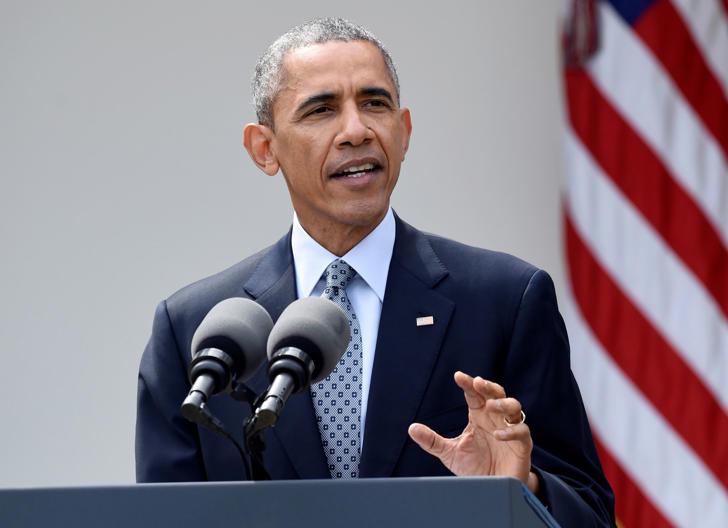 Former U.S. President Barack Obama speaks in the Rose Garden of the White House in Washington, D.C., on April 2, 2015.