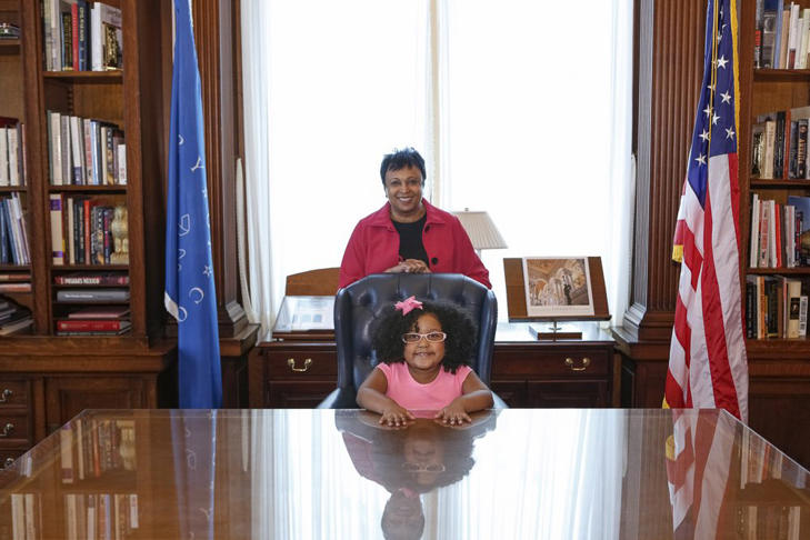 "Librarian of Congress, Carla Hayden, and 4-year-old Daliyah Marie Arana of Gainesville, GA as ""Librarian For The Day."""