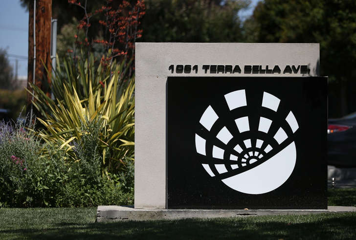 A sign is posted in front of the Terra Bella headquarters on June 10, 2014 in Mountain View, California.