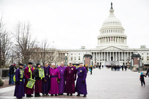 A group of Anglican Bishops pose for a photograph in front of the Supreme Court during the annual March for Life on the anniversary of the historic Roe v. Wade Supreme Court ruling in Washington on Jan. 27.