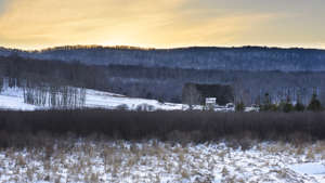 Farm in Winter with View of Mountains, West Virginia