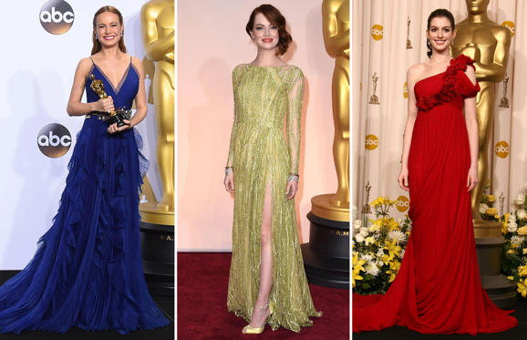 Diapositiva 1 de 58: Every year sees its own color trends at the Oscars. Here we look at the colors of the rainbow, as seen on the red carpet.