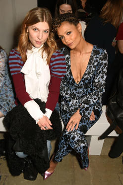 Slide 12 of 57: LONDON, ENGLAND - FEBRUARY 20:  Clemence Poesy (L) and Thandie Newton attend the ERDEM show during the London Fashion Week February 2017 collections at the Old Selfridges Hotel on February 20, 2017 in London, England.