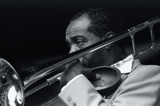 Slide 1 of 60: Clarence Lofton Plays Trombone at Monterey Jazz Festival (Photo by Craig Lovell/Corbis via Getty Images)