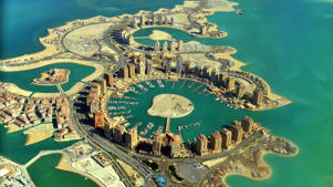 The Pearl, Porto Arabia Marina shot from the air in Doha, Qatar