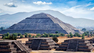 Panorama of Pyramid of the Sun. Teotihuacan. Mexico. View from the Pyramid of the Moon.