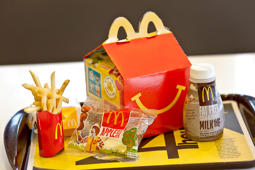 A happy meal sits on a tray at a McDonald's restaurant in Little Falls, New Jersey, Wednesday, February 15, 2011.