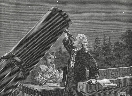 Slide 1 of 10: William Herschel (1738-1822) discovering Uranus in 1781. His sister Caroline taking notes. (Universal History Archive/UIG/Getty Images)