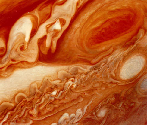 Slide 65 of 86: 1979: The Great Red Spot on the planet Jupiter and the turbulent region to the west, as seen by the space probe Voyager 1. (Photo by MPI/Getty Images) Restrictions