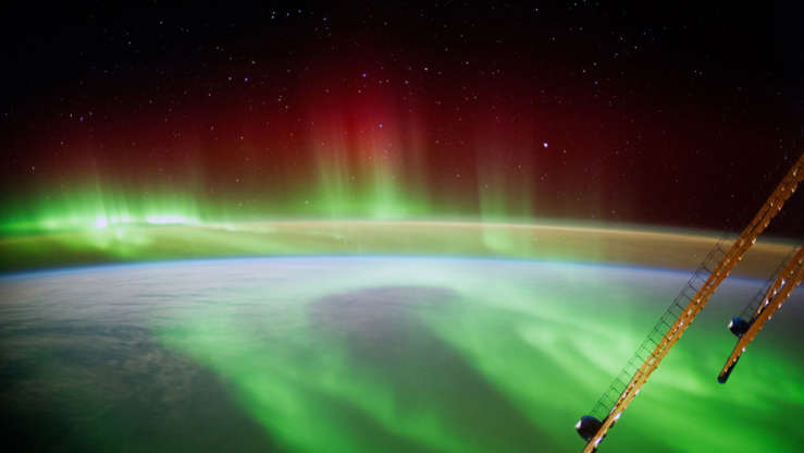 Slide 32 of 86: IN SPACE - SEPTEMBER 9: (EDITORIAL USE ONLY) In this handout photo provided by the European Space Agency (ESA) on September 9, 2014, German ESA astronaut Alexander Gerst took this image of an aurora as he circled Earth whilst aboard the International Space Station (ISS). Gerst returned to earth on November 10, 2014 after spending six months on the International Space Station completing an extensive scientific programme, known as the 'Blue Dot' mission (after astronomer Carl Sagan's description of Earth, as seen on a photograph taken by the Voyager probe from six billion kilometres away). (Photo by Alexander Gerst / ESA via Getty Images)