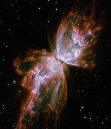 Slide 41 of 86: IN SPACE - JULY 27: In this image provided by NASA, ESA, and the Hubble SM4 ERO Team, a planetary nebula named NGC 6302, also known as, Butterfly Nebula and Bug Nebula, in the Scorpius constellation is pictured July 27, 2009 in Space. Today, September 9, 2009, NASA released the first images taken with the Hubble Space Telescope since its repair in the spring. (Photo by NASA, ESA, and the Hubble SM4 ERO Team via Getty Images)