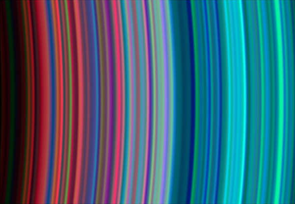 "Slide 48 of 86: On July 1, 2004, NASA's Cassini spacecraft arrived at Saturn, marking the end of the spacecraft's nearly seven-year journey through the solar system as well as the beginning of its tour of Saturn, its rings, moons and magnetosphere.  This image, taken on June 30, 2004 during Cassini's orbital insertion at Saturn, shows, from left to right, the outer portion of the C ring and inner portion of the B ring. The B ring begins a little more than halfway across the image. The general pattern is from ""dirty"" particles indicated by red to cleaner ice particles shown in turquoise in the outer parts of the rings.  The ring system begins from the inside out with the D, C, B and A rings followed by the F, G and E rings.  This image was taken with the Ultraviolet Imaging Spectrograph instrument, which is capable of resolving the rings to show features up to 97 kilometers (60 miles) across, roughly 100 times the resolution of ultraviolet data obtained by the Voyager 2 spacecraft.  Image Credit: NASA/JPL/University of Colorado"