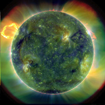Slide 40 of 86: A full-disk multiwavelength extreme ultraviolet image of the sun taken by SDO on March 30, 2010. False colors trace different gas temperatures. Reds are relatively cool (about 60,000 Kelvin, or 107,540 F); blues and greens are hotter (greater than 1 million Kelvin, or 1,799,540 F). Credits: NASA/Goddard/SDO AIA Team