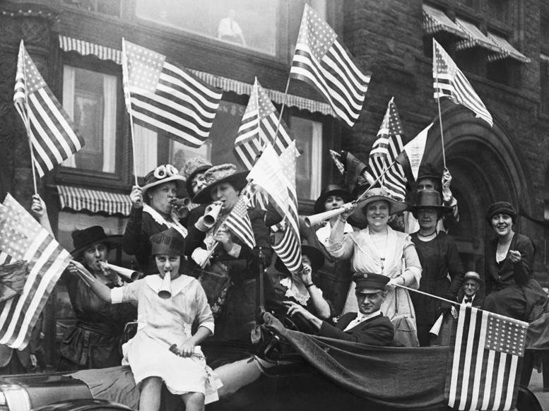 Slide 30 of 31: Suffragettes hold a jubilee celebrating their victory. Miss Melanie Lowenthal who was one of the leaders of the demonstration celebrating the dawn of political equality.