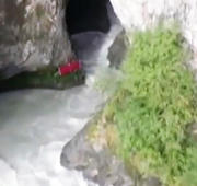 Kayaker shows off his skills at the Keyhole waterfall
