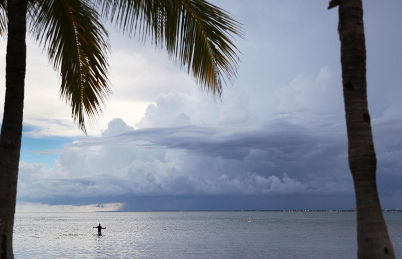 Slide 1 of 46: MIAMI, FL - SEPTEMBER 06: Storm clouds are seen on the horizon as people throughout South Florida prepare for Hurricane Irma on September 6, 2017 in Miami, Florida. It's still too early to know where the direct impact of the hurricane will take place but the state of Florida is in the area that seems most likely to take a hit.  (Photo by Joe Raedle/Getty Images)