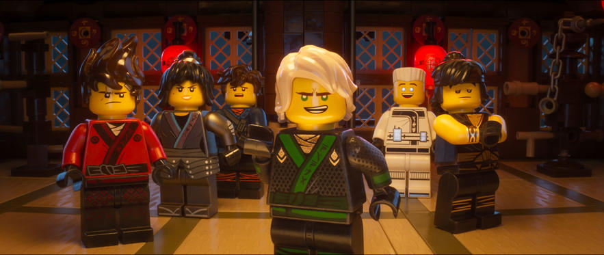 "Slide 1 of 45: (L-R) Kai (voiced by MICHAEL PEÑA), Nya (voiced by ABBI JACOBSON), Jay (voiced by KUMAIL NANJIANI), Lloyd (voiced by DAVE FRANCO), Zane (voiced by ZACH WOODS) and Cole (voiced by FRED ARMISEN) in the new animated adventure ""THE LEGO® NINJAGO® MOVIE,"" from Warner Bros. Pictures and Warner Animation Group, in association with LEGO System A/S, a Warner Bros. Pictures release."