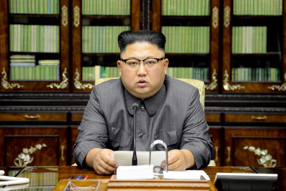 Slide 6 of 79: North Korea's leader Kim Jong Un makes a statement regarding U.S. President Donald Trump's speech at the U.N. general assembly, in this undated photo released by North Korea's Korean Central News Agency (KCNA) in Pyongyang September 22, 2017.