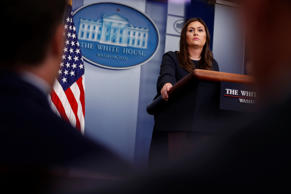 White House Press Secretary Sarah Huckabee Sanders holds the daily briefing at t...