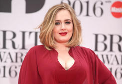 LONDON, ENGLAND - FEBRUARY 24: Adele attends the BRIT Awards 2016 at The O2 Arena on February 24, 2016 in London, England.