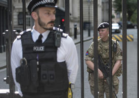 Security forces at Downing Street in Westminster, London.