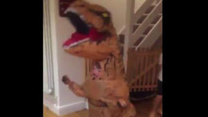 Boy enjoys his T-Rex costume before the incoming Halloween