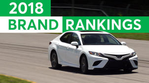 a car parked in front of a sign: Consumer Reports 2018 Most Reliable Car Brands