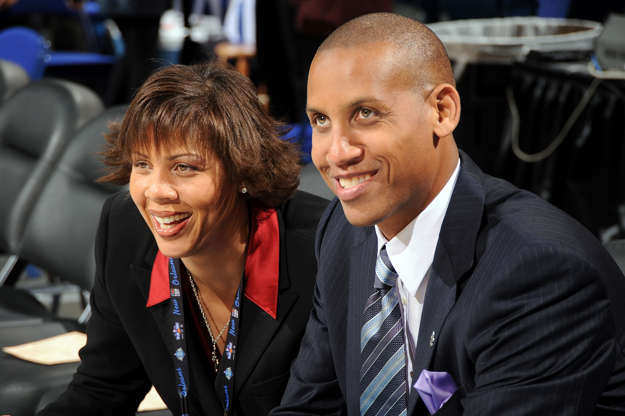 Slide 9 of 55: NEW ORLEANS - FEBRUARY 16: Cheryl Miller and Reggie Miller of TNT talk prior to NBA All-Star Saturday Night part of 2008 NBA All-Star Weekend at the New Orleans Arena on February 16, 2008 in New Orleans, Louisiana. NOTE TO USER: User expressly acknowledges and agrees that, by downloading and or using this photograph, User is consenting to the terms and conditions of the Getty Images License Agreement. Mandatory Copyright Notice: Copyright 2008 NBAE (Photo by
