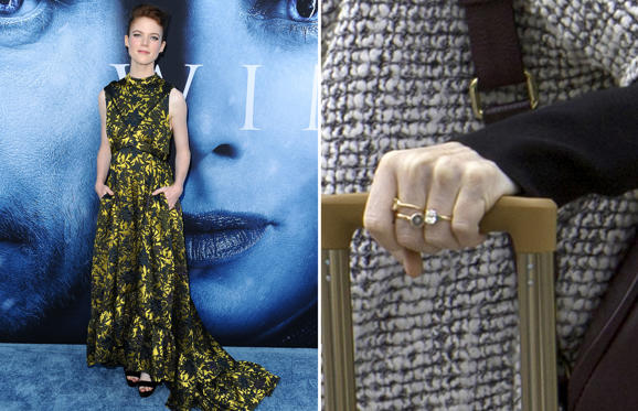 Slide 1 de 54: LOS ANGELES, CA - JULY 12: Actress Rose Leslie attends the season 7 premiere of 'Game Of Thrones' at Walt Disney Concert Hall on July 12, 2017 in Los Angeles, California. (Photo by Jason LaVeris/FilmMagic); LONDON, ENGLAND - OCTOBER 08: Rose Leslie shows off her engagement ring as she arrives at Heathrow airport to catch a flight on October 8, 2017 in London, England. (Photo by Ray Crowder/GC Images)