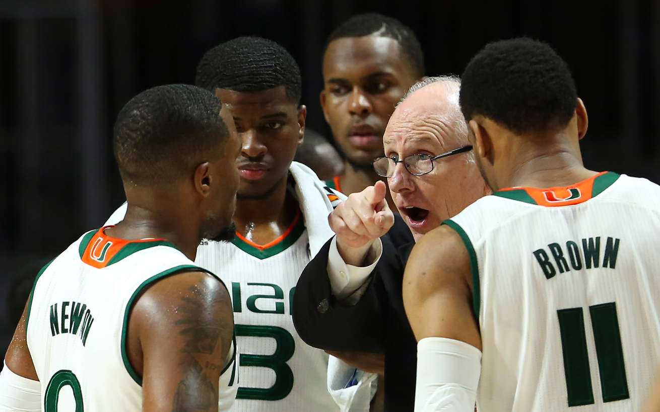 Miami head coach Jim Larranaga gives instructions to his team during the second half against Duke at the Watsco Center in Coral Gables, Fla., on Saturday, Feb. 25, 2017. Miami won, 55-50.