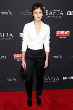 Slide 9 de 18: Mandatory Credit: Photo by Matt Baron/REX/Shutterstock (9309004bn) Emma Watson BAFTA Tea Party, Los Angeles, USA - 06 Jan 2018 WEARING OSMAN SUIT SHOES BY SUSI STUDIO