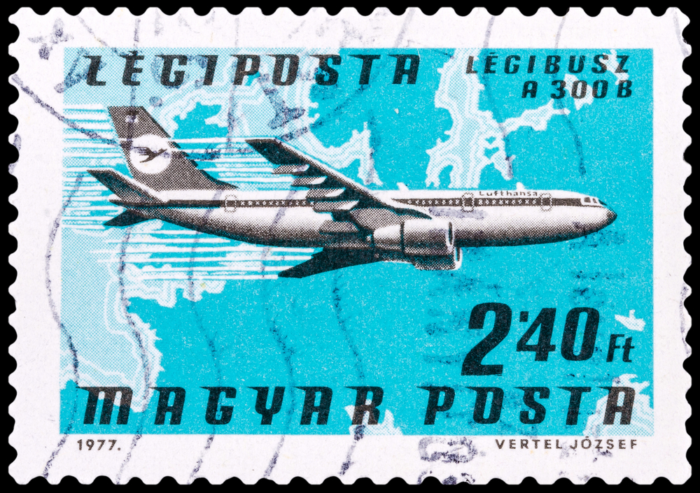 Slide 57 of 70: DZERZHINSK, RUSSIA - FEBRUARY 04, 2016: A postage stamp of HUNGARY shows plane Airbus A 300 B, circa 1977