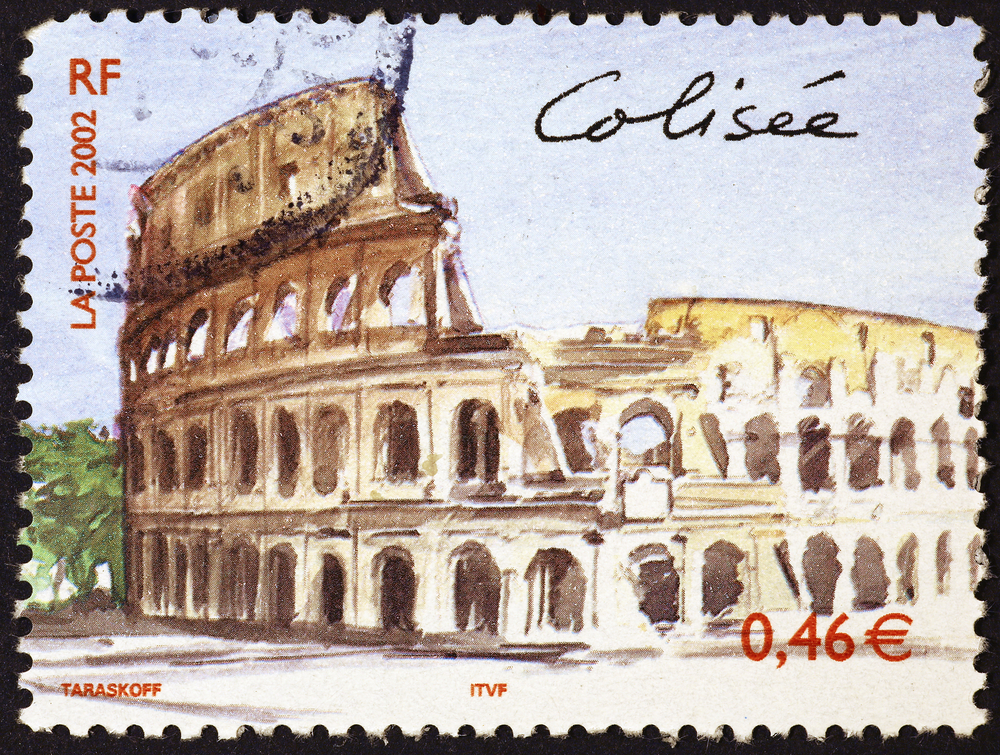 Slide 21 of 70: Milan, Italy - November 17, 2016: Colosseum of Rome on postage stamp