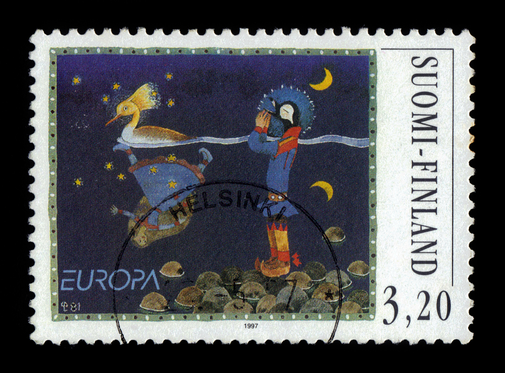 Slide 29 of 70: FINLAND - CIRCA 1997: a stamp printed in Finland shows illustration to a finnish fairy tale Hidden love, circa 1997
